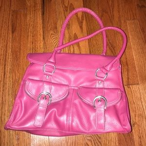 Large, pink leather bag